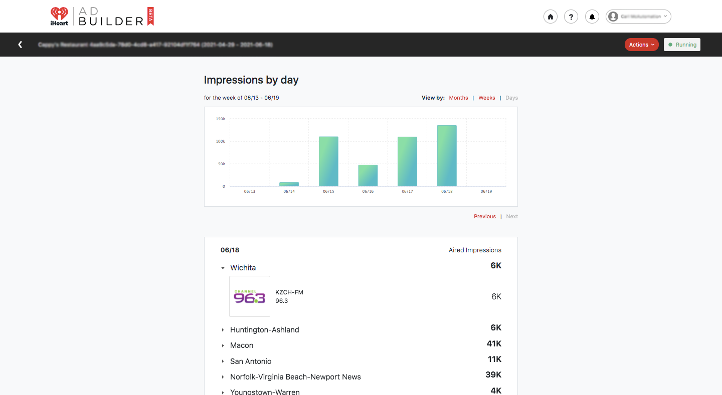 An iHeart AdBuilder campaign dashboard showing impressions by day and the locations and radio stations ads played on.