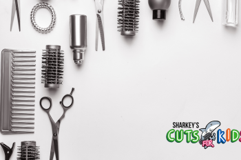 Hair styling tools along the top and left side of the image with a Sharkey's Cuts for Kids logo in the bottom right corner